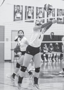 Tess Underbrink stretches out to set up an attack for the Pleasanton Lady Eagles on Tuesday night at La Vernia. Underbrink led the way for the Lady Eagles with 24 assists in their three-set win over Gonzales on Oct. 6. J GARCIA | PLEASANTON EXPRESS