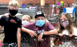 Reid, Jacob, Jaxson and Macy Powell at the Texas State Fair in Dallas on September 27, getting ready to show their pigs. Reid and Macy Powell are the children of Jay and Geena Powell. Jaxson and Jacob Powell are the sons of Josh and LeeAnn Powell. Jaxson placed 7th with his Duroc. COURTESY PHOTO