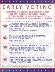 You can vote at any of the above Early Voting polling locations today through Friday, Oct. 30.