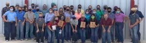 Jourdanton FFA students went for another round of contests in Sinton on Oct. 7 to compete in the Area X Fall CDE at the Welder Wildlife Refuge. Students who participated were (front row) Miranda Jones, Marti Ducote, Madison Garvin, Shaylyn Trench, Kynlea Yow, Lexi Sandoval and McKenzie Lutz; (middle rows) Jordan Wallace, Laurie Kubish, McKenzie Bauerle, Kylyn Smithey, Alex Figallova, Kooper Schorsch, Drake Vyvlecka, Molly Fluitt, Kristin Mueller, Madi Vick, Sawyer Huggins, Cali Hindes, Sydney Blair, Jenny Vrana, Aiden Guzman, Savannah Segura and Garrison Vyvlecka; (back row) Jacob Meyer, Michael Howard, Curtis Steinle, Matthew Hicks, Trevor Dickey, Ally Foster, Riley Howard, Neal Parks, Rene Ortiz, Diego Valdez, Claire Vyvlecka, Madison Yow, Tate Yow, Macey Briones and Weston Eisenhauer. A huge congratulations goes out to all the students and good luck at state. COURTESY PHOTO