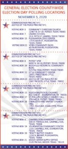 Election Day is this coming Tuesday, Nov. 3! You can go to any of the above polling locations in Atascosa County to cast your vote. For more information, please call the Atascosa County Elections Office at 830-769-1472.
