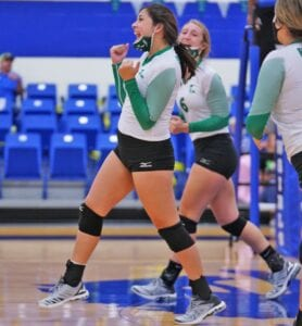 Brianna Garcia celebrates a point during Pleasanton's non-district match with McMullen County. The Lady Eagles beat Gonzales in five sets to clinch a playoff spot on Friday, Oct. 23 J GARCIA | PLEASANTON EXPRESS