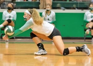 Sophomore Victoria Urbanczyk digs out an attack against Gonzales on Oct. 6. The sophomore outside hitter has flourished in her new role after serving as a setter in 2019. Her teammates say her presence will be big against Wimberley after she missed their meeting in the regular season. J GARCIA | PLEASANTON EXPRESS