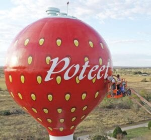 The iconic Poteet Strawberry Water Tower gets a new facelift with a fresh coat of paint as part of the City of Poteet Limited Maintenance contract with Maguire Iron, Inc. which includes exterior and interior renovation and repairs. MARTIN OLIVARES | SKY NEWS SA