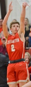 Colton Schuchart puts up a three-pointer during the Indians's win over Santa Gertrudis Academy in the Area Round of playoffs last season. PLEASANTON EXPRESS FILE PHOTO