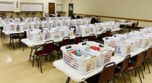 As part of their meeting on Dec. 8, Woman's Club of Pleasanton members filled baskets with food for local families to have for the Christmas school break.