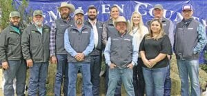 Big shoutout to all of the Tilden Livestock Association Board of Directors for putting together an outstanding McMullen County Livestock Show. Pictured are members of the TLSA board, from left, McMullen ISD Ag teachers Kyle Pate and Jim Harris, Ward Smith, Clif Royal, Marty Soward, Extension Agent Chrissy Langsford, Tanner Crouch, Treasurer Shea Smith-Villarreal, Secretary Melissa Carver, Vice President Chris Turner and President Scott McClaugherty. Not pictured is Megan Gillette. MARY PATE | COURTESY PHOTO