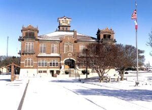 The Atascosa County Courthouse in all its magical winter wonderland glory following the snowstorm that blasted all of Texas on Sunday night and early Monday morning. On the outside, it was glorious, but inside homes, thousands of residents have been suffering days of no electricity and for many, a loss of water, too. See inside for more photos of this historic snowfall throughout Atascosa County in our Living, Sports and Farm and Ranch sections as well. The Pleasanton Express will be printing more snow photos in the weeks to come. JACK GARCIA | PLEASANTON EXPRESS