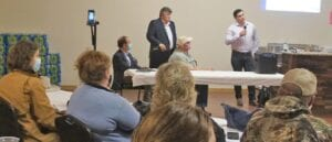 Representatives with Zinc Resources LLC met with the public at the Whitsett Community Center on Feb. 10. Pictured speaking is AJ Hansborough of Trinity Consulting. LISA LUNA | PLEASANTON EXPRESS