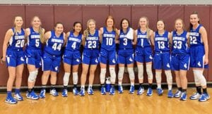 The McMullen County Cowgirls pose after beating North Zulch 62-53 in the area round of playoffs on Saturday, Feb. 20. APRIL SMITH | MCMULLEN COUNTY ISD