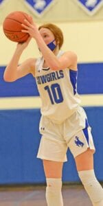 Chloe Taylor lines up a shot during the Cowgirls win over San Perlita in January. Taylor posted a double-double of 25 points and 12 rebounds to help the Cowgirls beat North Zulch 62-53 on Saturday, Feb. 20. PLEASANTON EXPRESS FILE PHOTO