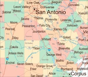 The above map represents cities and counties within a 100-mile radius of Whitsett where the proposed Zinc Resources facility is to be built. Residents living within a 100-mile radius of Whitsett are encouraged to write to the Texas Commission on Environmental Quality (TCEQ) if they hope for any chance of stopping the construction of a hazardous waste processing facility.