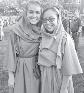 Brianna (Helmer) Addington, who portrayed Mary, and me after UMHB's 77th Annual Easter Pageant in Spring 2016.