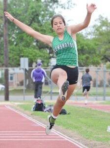Ciarah Garcia launches during the triple jump event at the District 27-4A meet on March 31. SAM FOWLER   PLEASANTON EXPRESS