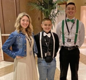 Left to right: Heaven Marquez, Elijah Marquez and RJ Marquez after their song-leading competitions at LTC in the Hilton Anatole in Dallas.
