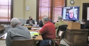 Representatives from the Texas Commission on Environmental Quality (TCEQ) were present for a public hearing during Commissioners Court Monday morning to discuss the illegal tire operations that have been occuring on Verdi Road in northern Atascosa County for the past several years. Pictured on the screen is TCEQ's Cameron Lopez who explained the history of TCEQ's investigation on the private residence in question. Also present from TCEQ were San Antonio Director Joel Anderson and TCEQ Investigator Amanda Butcher. REBECCA PESQUEDA | PLEASANTON EXPRESS