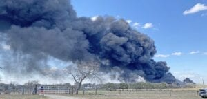 On March 6, a billowing cloud of black smoke in the sky coming from a private residence off Verdi Road in northern Atascosa County could be seen for miles. The smoke was the result of thousands of burning tires from an outof control trash fire. The property owners are said to have been running illegal tire operations at the residence for years. PLEASANTON EXPRESS FILE PHOTO