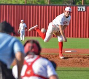 Brett Berg fires a pitch home during Jourdanton's 13-3 win over Dilley on Friday, April 9. Berg also scored the walk-off run in the fifth inning to enact the run rule and end the game in the fifth inning. SAM FOWLER | PLEASANTON EXPRESS