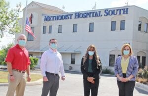 Methodist Hospital | South partners with Impact Healtcare Management to bring Atascosa County patients the One-Eighty Program, a new medical service tied directly to meeting the needs of those who decide to take a 180 degree turn away from alcohol and drugs toward a better life. The staff behind the program include, from left, William Dylla, VP Clinical Operations; David Long, Director of Emergency Services; DeAnn McKinney, One-Eighty Service Coordinator; and Pamela Guillory, Chief Nursing/Chief Operating Officer. REBECCA PESQUEDA | PLEASANTON EXPRESS