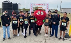 JROTC Cadets at the first ever Poteet Strawberry Festival 5K and 1 Mile Berry Run/Walk on April 3.