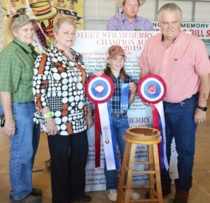 Pictured from left: Dr. Janet Arlitt, Raye Arlitt, Reserve Champ (preteen) Kenzie Rakowitz and Bill Arlitt. The Arlitts are representing Best-1 Hummingbird Feeders. Rakowitz's entry, Mrs. Dowdy's Chess Pie sold for $1,300 to buyers: Best-1 Hummingbird Feeders, Rusty and Lacy Fisher, Glazers Beer, H-E-B Pleasanton, Jeff and Sue Ann Smith, Larry and Janet Bartek, Michele Higginbotham and Ed McClure (Edward Jones), Pleasanton Express, Poteet Lions Club and Poteet VFW Post 6970. JOE DAVID CORDOVA | EXPRESS PHOTO