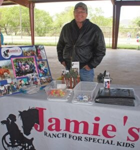 Roger Mitzel of Jamie's Ranch for Special Kids in McCoy was among those attending the Autism Awareness Day event on April 17, providing information on the nonprofit organization. While the ranch had to cancel events due to coronavirus concerns, Mitzel shared that fortunately, things are picking back up again and they are looking forward to hosting group visits and other events. LISA LUNA | PLEASANTON EXPRESS PHOTOS