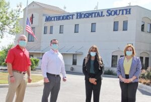 The staff behind the program include, from left, William Dylla, VP Clinical Operations; David Long, Director of Emergency Services; DeAnn McKinney, One-Eighty Service Coordinator; and Pamela Guillory, Chief Nursing/Chief Operating Officer. REBECCA PESQUEDA | PLEASANTON EXPRESS