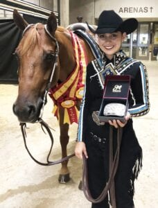 Gonzales and her horse Blurred Lines, aka Miley, at the 2019 AjPHA World Championship Show where they won three reserve world champion titles. LESLIE GONZALES | COURTESY PHOTO