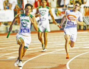 Juan Lopez rounds the curve for Pleasanton's 1600-meter relay team at the Class 4A state meet in Austin on Thursday, May 6. The relay team finished fourth, lifting them to a fifth-place finish in the team standings. SAM FOWLER | PLEASANTON EXPRESS