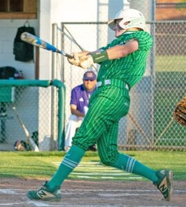 Auston Gillespie connects on a pitch in Pleasanton's 11-1 win over Carrizo Springs on Friday, May 7. Gillespie had a team-high four RBIs in the win Friday. J GARCIA | PLEASANTON EXPRESS