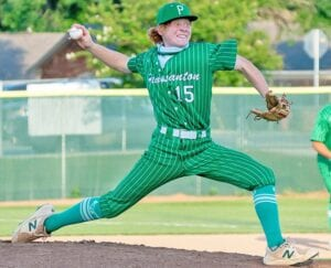 Tanner Hollis tosses a pitch home during Pleasanton's 11-1 win over Carrizo Springs on Friday. Hollis picked up the win for the Eagles. J GARCIA | PLEASANTON EXPRESS