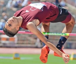 Poteet's Noah Gonzales clears the bar at the Class 3A state track meet on Thursday, May 6, in Austin. Gonzales set a new personal record with a height of 6 feet, 6 inches to place fourth at state. His previous PR was 6-2 set at the regional meet. SAM FOWLER   PLEASANTON EXPRESS