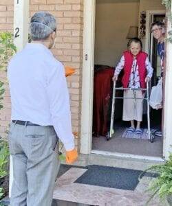 Meals on Wheels practices social distancing protocols and also wear masks and gloves when delivering.
