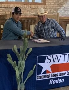 Joseph Brown Jr. (left) with SWTJC rodeo coach Joey Almond at his signing COURTESY PHOTO
