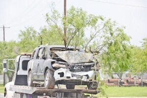 Pleasanton Police Department along with multiple law enforcement agencies engaged in a vehicle pursuit on June 4. The driver, Dylan Plemons, drove into a field off Humble Camp Road where his vehicle crashed into a mesquite tree and caught fire. SAM FOWLER | PLEASANTON EXPRESS