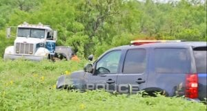 The driver of a green Nissan Armada drove into a field off Humble Camp Road on June 4 after driving at a high rate of speed throughout Pleasanton and Atascosa County. The vehicle crashed into a mesquite tree and caught fire. The Atascosa County Fire Marshal's Office along with Pleasanton Police Department and Jeff's Auto Rebuiders remained on scene to extract the vehicle from the brush. SAM FOWLER | PLEASANTON EXPRESS