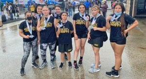 Pleasanton JROTC team that took home 2nd place overall in the female division. Pictured, from left, are Ashley Steed, Annie Araiza, Ashley Mahavier, Meaghan McDonald, Alania Nethken, Rory Cashiola, Kayla Shire and Alyssa Castelar.