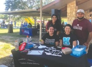 The Frank L. Madla Early College High School team came out to give 9th-10th grade students an early college opportunity for the upcoming 2021-2022 school year. Pictured, from left, back row, is Alyssa Gamez and Arnold Hernandez; front row, Kristina Canales and Danielle Christensen. GABRIELLA RUIZ   PLEASANTON EXPRESS