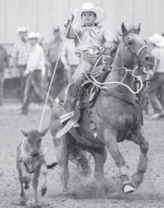 Tanner Vickers, a seventh-grader at Jourdanton Junior High, ropes a calf during the Texas Junior High Rodeo Association finals in Gonzales. Vickers and his partner, Mallory Van der Eide, qualified for the NJHRA finals in Ribbon Roping by finishing fourth at the state finals. JENNINGS PHOTOGRAPHY | COURTESY PHOTO