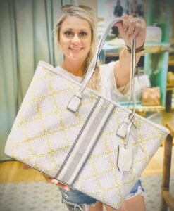 Check out the beautiful Tory Burch purse that Tiffiney Willmon of the Olive Branch is donating.
