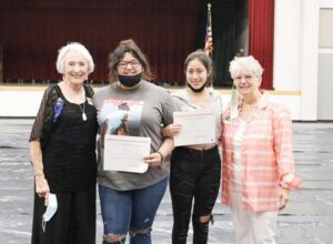 Club First VP Annette Anderson and Patsy Troell presented awards to Charlotte High School Recipients: Lucy Benavidez and Renee Benavidez. PATSY TROELL | COURTESY PHOTOS