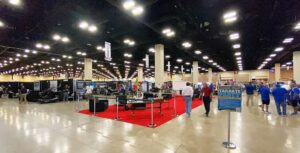 The exhibition hall at the Henry B. Gonzalez Convention Center was littered with dozens of vendors and exhibitors, and hundreds of coaches for the 89th Annual THSCA Coaching Convention.  SAM FOWLER |  PLEASANTON EXPRESS