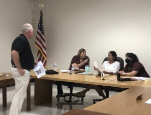 Charlotte Athletic Director Shawn Vowell presented a variety of wants and needs to the CISD school board during their budget workshop on July 14. GABRIELLA RUIZ | PLEASANTON EXPRESS