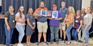 The Pleasanton Express walked away with huge wins at the 95th Annual South Texas Press Association 2021 Convention and Better Newspaper Contest this past weekend. From left, Living Editor Lisa Luna, STPA College Intern Gabriella Ruiz, News Editor Rebecca Pesqueda, Sports Editor Sam Fowler, Graphic Designer Aaron Davidson, Reporter Cade Andrews, Publisher/Managing Editor Noel Wilkerson Holmes, Robbie Denson, Sports Columnist Maggie Rodriguez and Business/Ads Manager Rhonda Chancellor. NOEL HOLMES | PLEASANTON EXPRESS