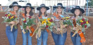 The 55th Cowboy Homecoming Court was crowned Saturday night at the Pleasanton Young Farmers' Rodeo. Autumn Guerra was crowned Cowboy Homecoming Queen. Pictured, from left, are Princess Ally Sherley, Princess Raylin Castillo, Queen Autumn Guerra, Princess Erin Light and Princess Linda Sanchez. JOE DAVID CORDOVA | PLEASANTON EXPRESS