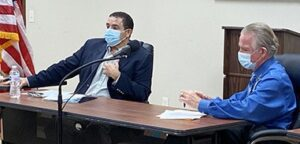 Congressman Henry Cuellar, left, and Atascosa Health Center CEO Monty Small, right, announced that the City of Poteet would will be welcoming a health center for its citizens on Oct. 4. REBECCA PESQUEDA | PLEASANTON EXPRESS