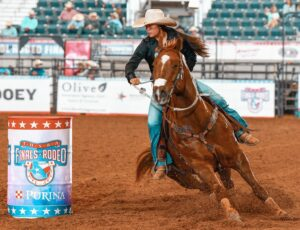 American Junior Rodeo Association World Champion Barrel racer Taber Garcia on her horse Chili at the High School Rodeo State Finals JENNINGS PHOTOGRAPHY   COURTESY PHOTO