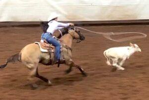 Garcia and Famous competing in the AJRA breakaway roping event, winning the Finals MARNIE RAYES   COURTESY PHOTO