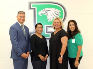 Pleasanton ISD Superintendent Dr. Matthew Mann and some of his team recently presented their district goals and initiatives for the 2021-2022 school year. Pictured, from left, are: Dr. Matthew Mann, Jennifer Donato- PISD Chief Financial Officer, Cheryl Barron- PISD Assistant Superintendent of Personnel and Student Services and Dr. Venus Vela- Executive Director of Curriculum and Instruction. PLEASANTON ISD | COURTESY PHOTO