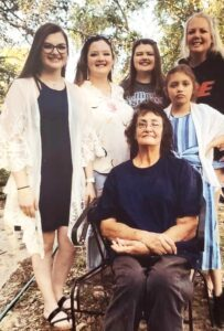Debbie May (seated) is pictured with granddaughters, Alyssum, Jasmine, Lily and Maggie Jones and daughter Rena Jones.